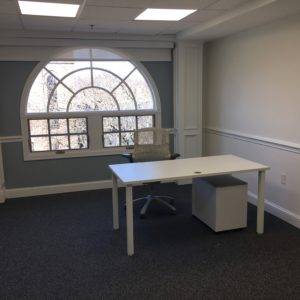 Desk with Chair With Window in Back